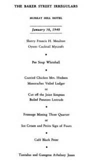 Dinner published originally as the 1998 baker street journal christmas