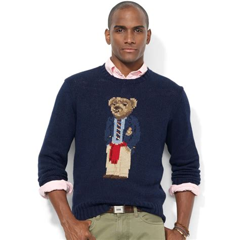 Sweater Polos lyst ralph crew neck intarsiaknit polo sweater in blue for
