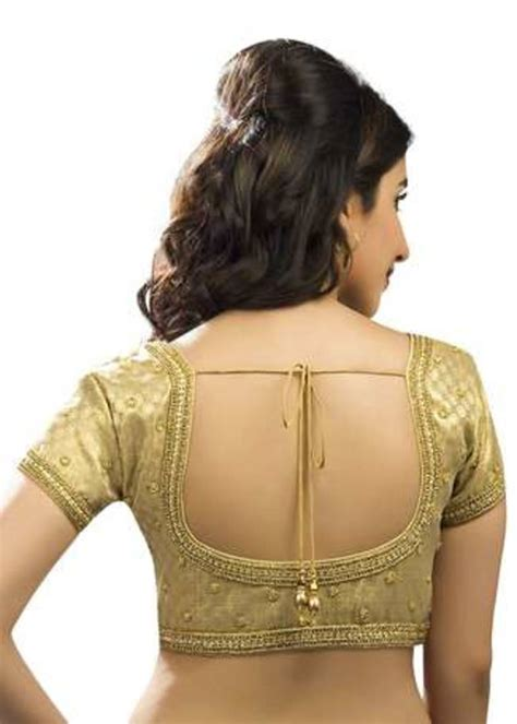 Blouse Moti buy golden moti work stitched brocade readymade blouses