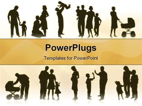 free powerpoint templates family silhoutte of family cycle powerpoint template