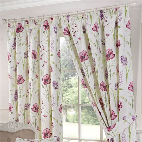 poppy curtains ellie red poppy 3 quot pencil pleat lined ready made curtains