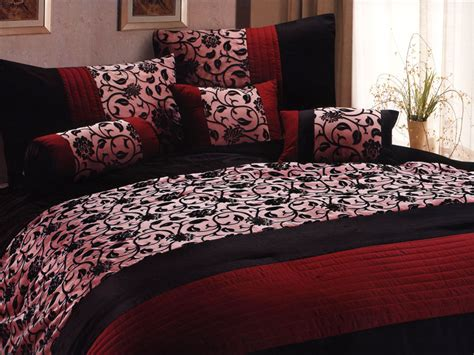 gothic bedding sets 7 pc classy floral motif comforter set burgundy black goth