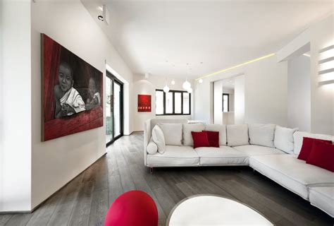 White And Red Living Room | red white apartment