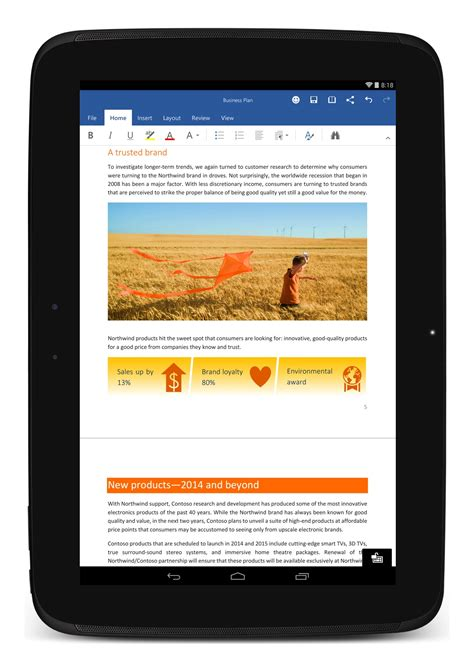 word for android microsoft office for android tablets now available