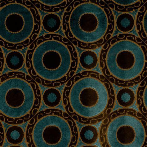 Gold Velvet Upholstery Fabric Peacock Blue Velvet Geometric Fabric Brown Blue Suzani