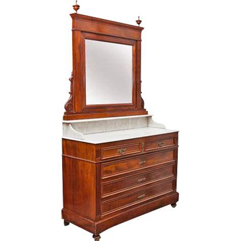 Veneer Dresser by Mahogany Veneer Dresser Carrara Marble Mirror 3 Drawers