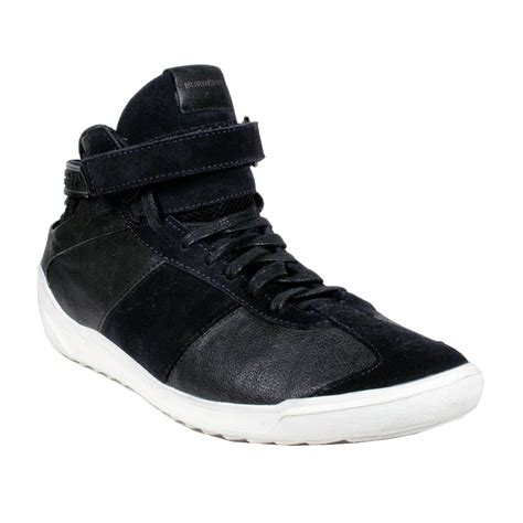 black mens sneakers burberry mens shoes black high top leather sneakers bur039