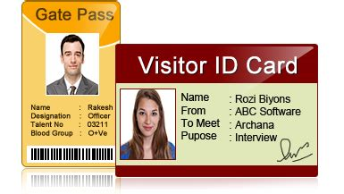 Visitor Id Card Template by Visitors Id Gate Pass Maker Design Visitor Id Card And