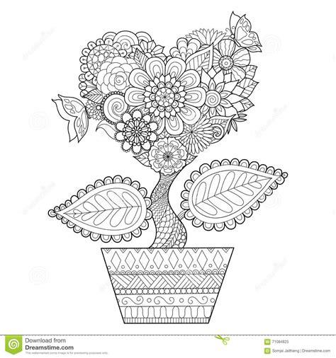 flowers in heart shape on a pot line art design for