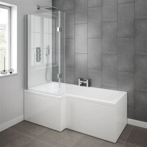 Bathroom With Bathtub And Shower Milan Shower Bath 1700mm L Shaped With Hinged Screen Panel At Plumbing Uk