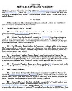 free missouri monthly rental agreement templates in pdf