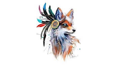 Sketches 4k Wallpaper by Fox Drawing Feathers Colorful Simple Background