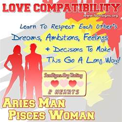 aries man and pisces woman love compatibility sun signs