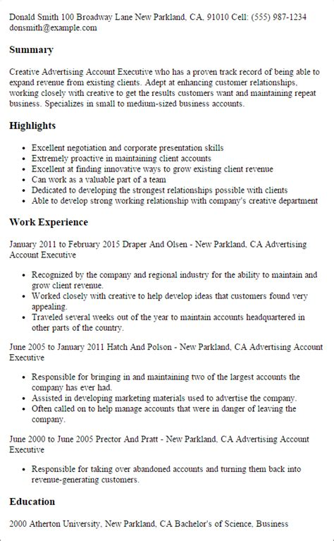 sle of executive resume summary advertising account executive resume template best