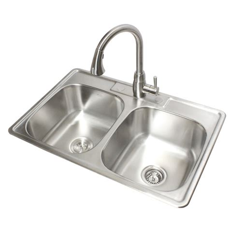 Stainless Steel Kitchen Sinks Top Mount 33 Inch Stainless Steel Top Mount Drop In 50 50 Bowl Kitchen Sink 18
