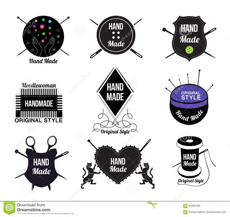 Handcraft Design - set of made logo labels and design elements stock