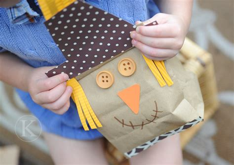 Paper Bag Scarecrow Craft - katherine with scarecrows