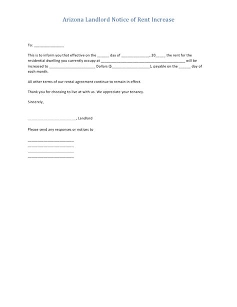 Landlord Rent Increase Letter California arizona notice to increase rent form legalforms org