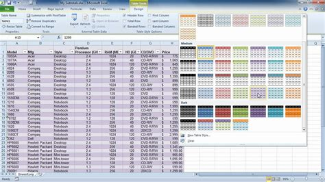 format excel as table excel 2010 format as table youtube