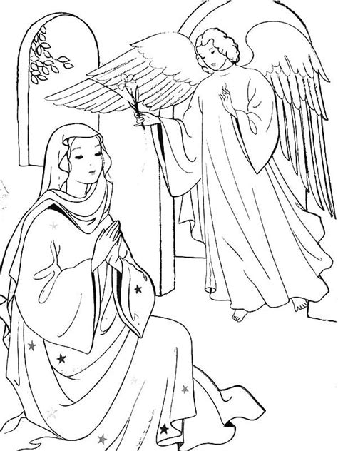 free coloring pages angel and mary angel appears to mary and joseph and tell them about birth