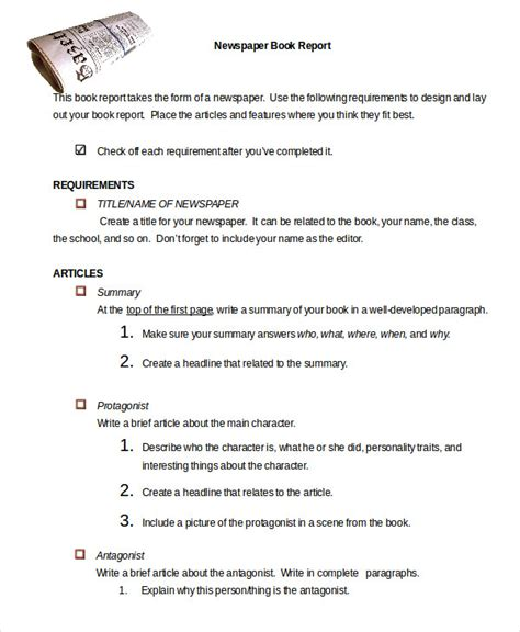 Newspaper Book Report Template Book Report Template 9 Free Word Pdf Documents