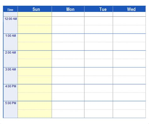 7 day week schedule template calendar template 2016