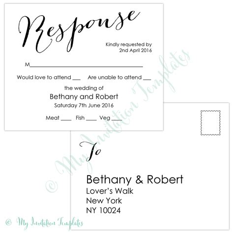 wedding rsvp postcard template modern calligraphy