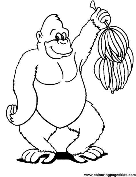 coloring page for gorilla free printable gorilla with banana39s coloring page for