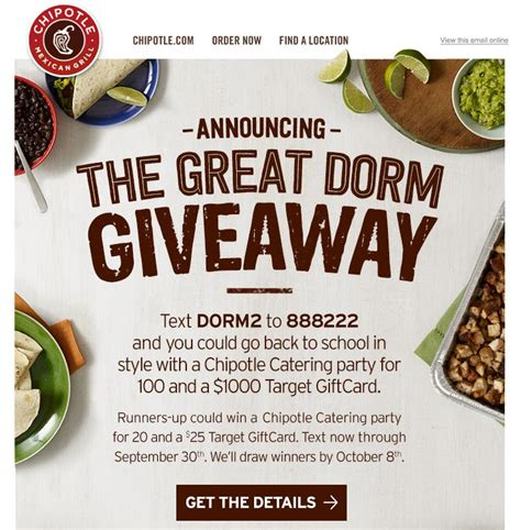 Giveaway Exles - sms giveaway exle chipotle tatango sms marketing software