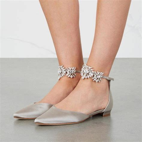 Flat Grey Shoes s grey wedding shoes rhinestone ankle flats