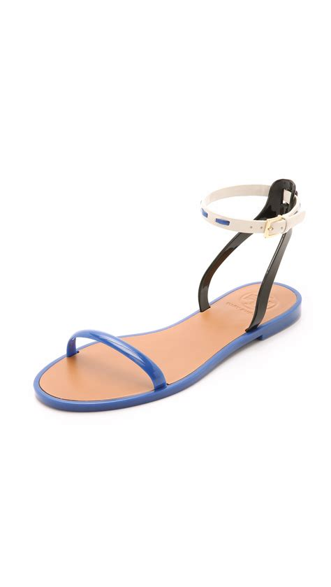 burch jelly sandals burch leather ankle jelly sandals neptune