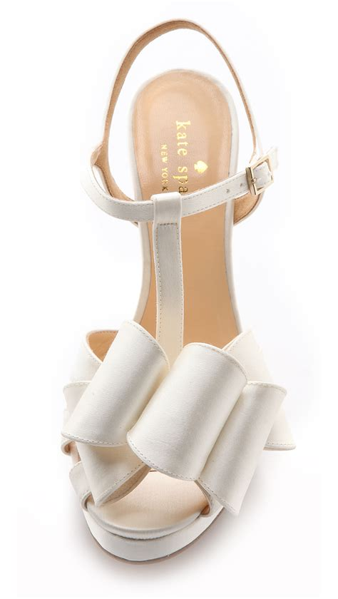 Katee Spadee 4in lyst kate spade new york ribbon sandals ivory in white