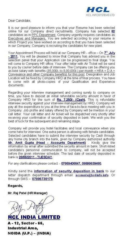 Offer Letter Generator India Hcl India Limited Offer Letter