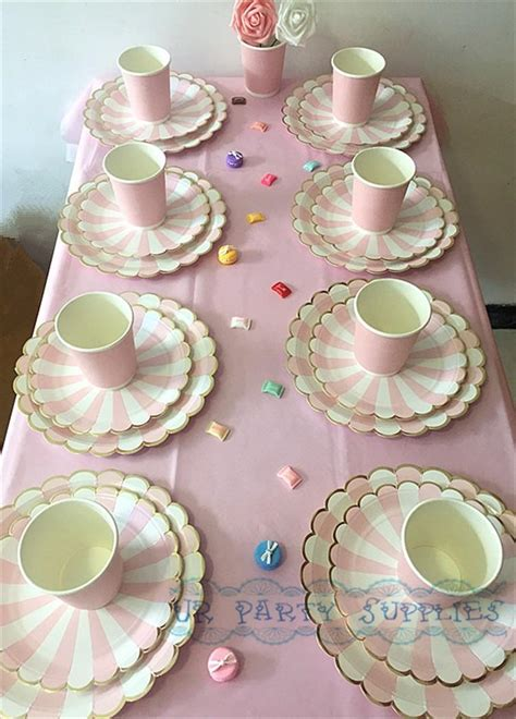 bridal shower paper goods 80pcs pink stripe gold tableware paper plates cups napkins straws for birthday