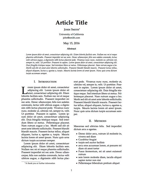 layout of an online article latex templates 187 articles