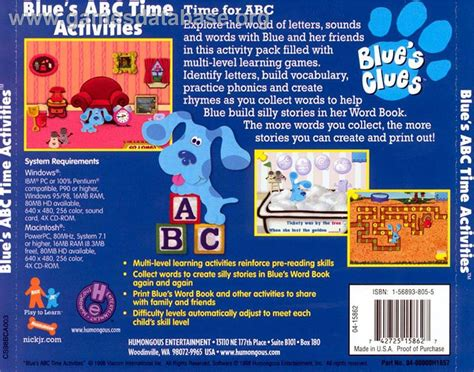 Backyard Baseball Humongous Entertainment Play Online - blue s clues blue s abc time activities scummvm games database