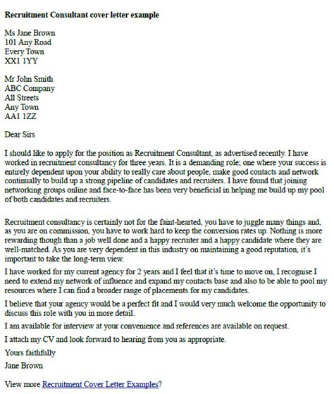 Covering Letter Example Recruitment Consultant   Covering