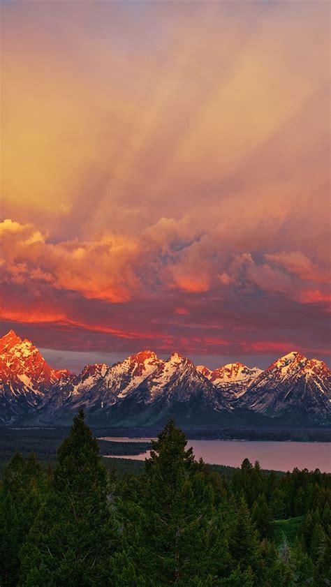 national park grand teton wyoming sunrise mountains