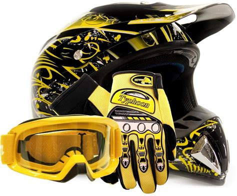 yellow motocross helmets motocross helmet with gloves and goggles yellow dirt