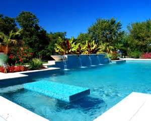 Bamboo Spa Bench Modern Fountain Swimming Pool Design Ideas Pictures