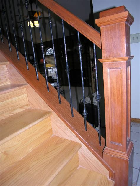 Oak Handrail Stairway With Natural Cherry Railing With Iron Spindles
