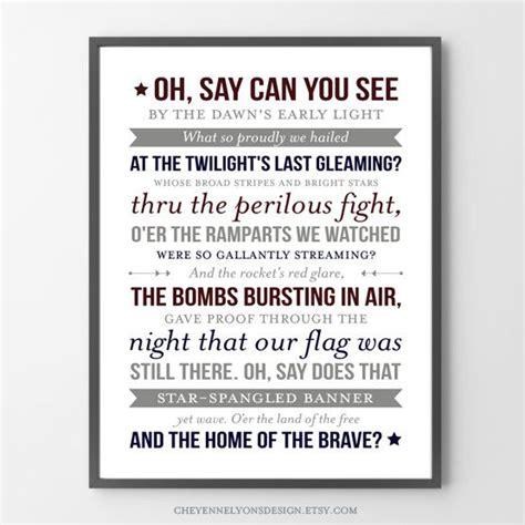 printable version of star spangled banner national anthem printable july 4th decor print fourth
