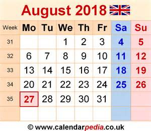 Calendar For August 2018 Calendar August 2018 Uk Bank Holidays Excel Pdf Word
