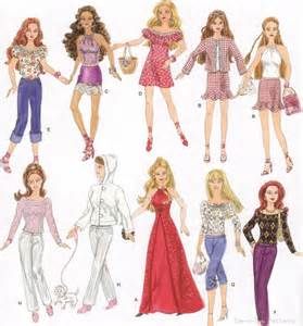 Details about barbie doll clothes wardrobe sewing pattern dress gown