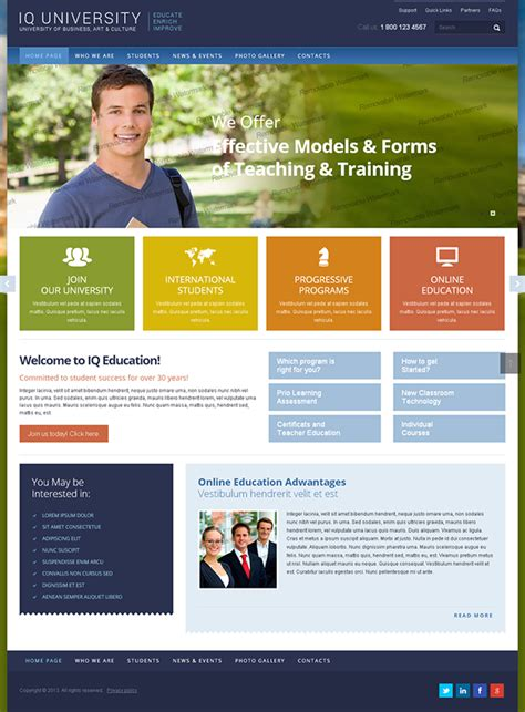 bootstrap templates for university iq university of business bootstrap html template on behance