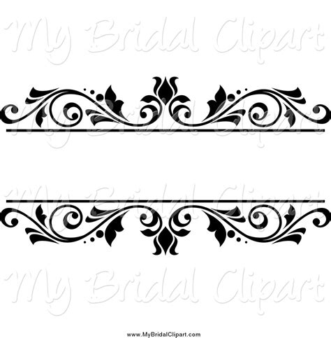 wedding border line floral clipart black and white pencil and in color