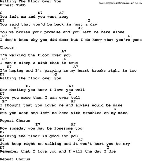 walking the lyrics country walking the floor you lyrics and chords