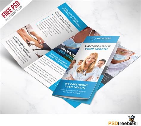 Medical Care And Hospital Trifold Brochure Template Free Psd Psdfreebies Com Health Care Flyer Template Free
