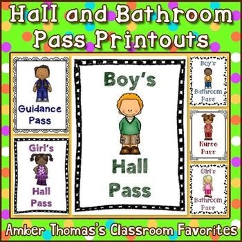 classroom bathroom passes hall and bathroom pass printouts by amber thomas tpt
