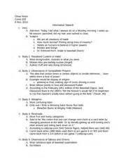 Formal Speech Presentation Outline by Coms At Cal Poly Course
